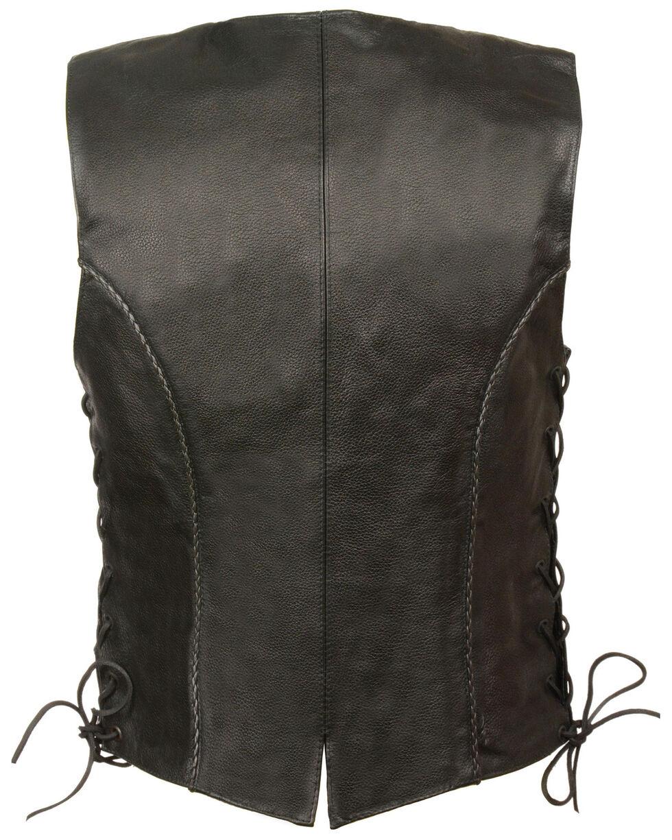 Milwaukee Leather Women's Thin Braid Snap Front Vest - 4X, Black, hi-res