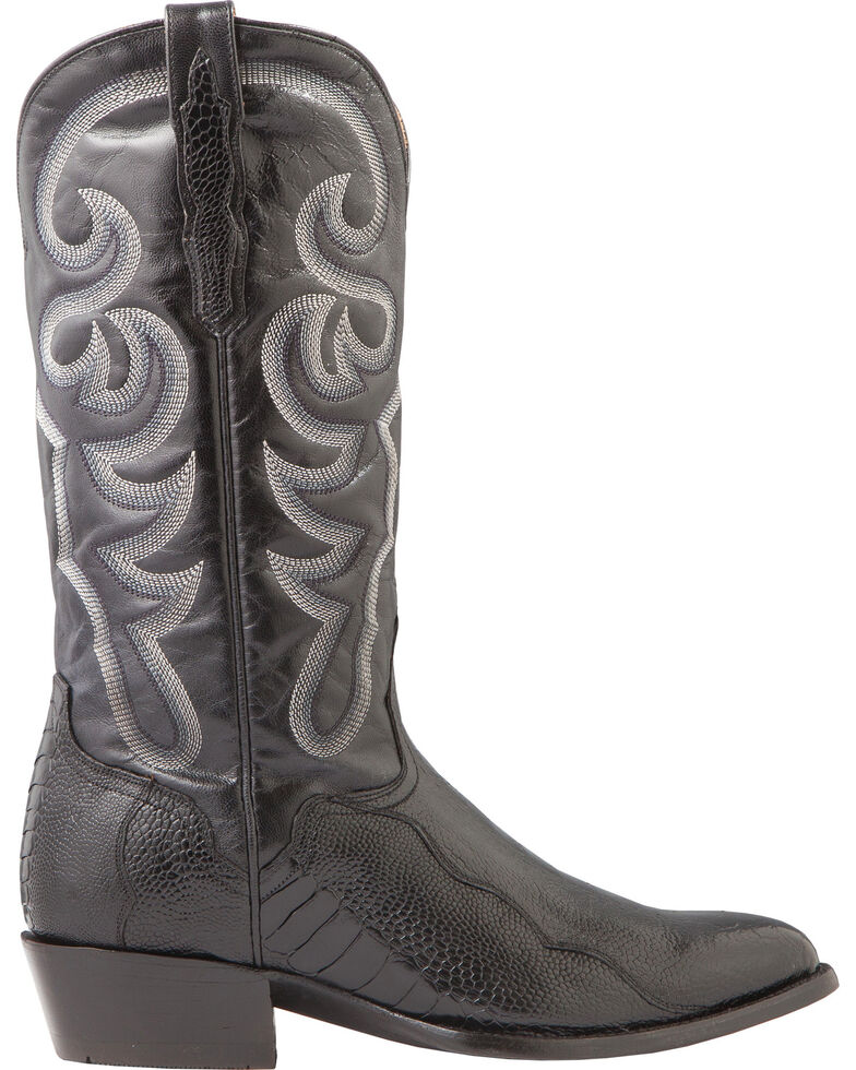 El Dorado Men's Handmade Ostrich Leg Black Western Boots - Medium Toe, Black, hi-res