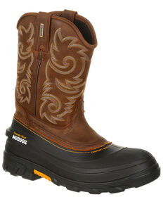 Georgia Boot Men's Muddog Waterproof Western Work Boots - Round Toe, Brown, hi-res