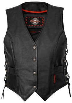 Milwaukee Deuce Leather Vest - XL, Black, hi-res