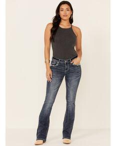 Grace in LA Women's Camo Cross Bootcut Jeans, Blue, hi-res