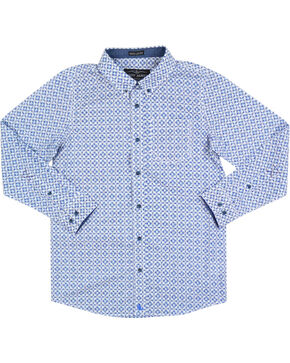 Cody James Boys' Diamond Patterned Long Sleeve Shirt, White, hi-res