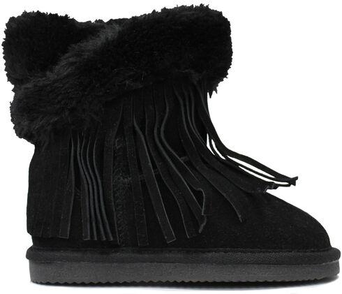 Lamo Footwear Kid's Fringe Wrap Boots, Black, hi-res