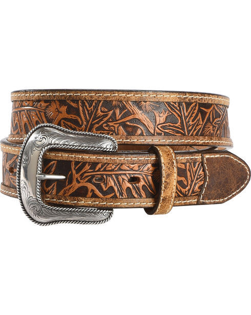 Justin Men's Tan The Huntsman Tooled Leather Belt , Tan, hi-res