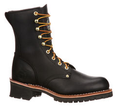 Georgia Logger Work Boots - Round Toe, Black, hi-res