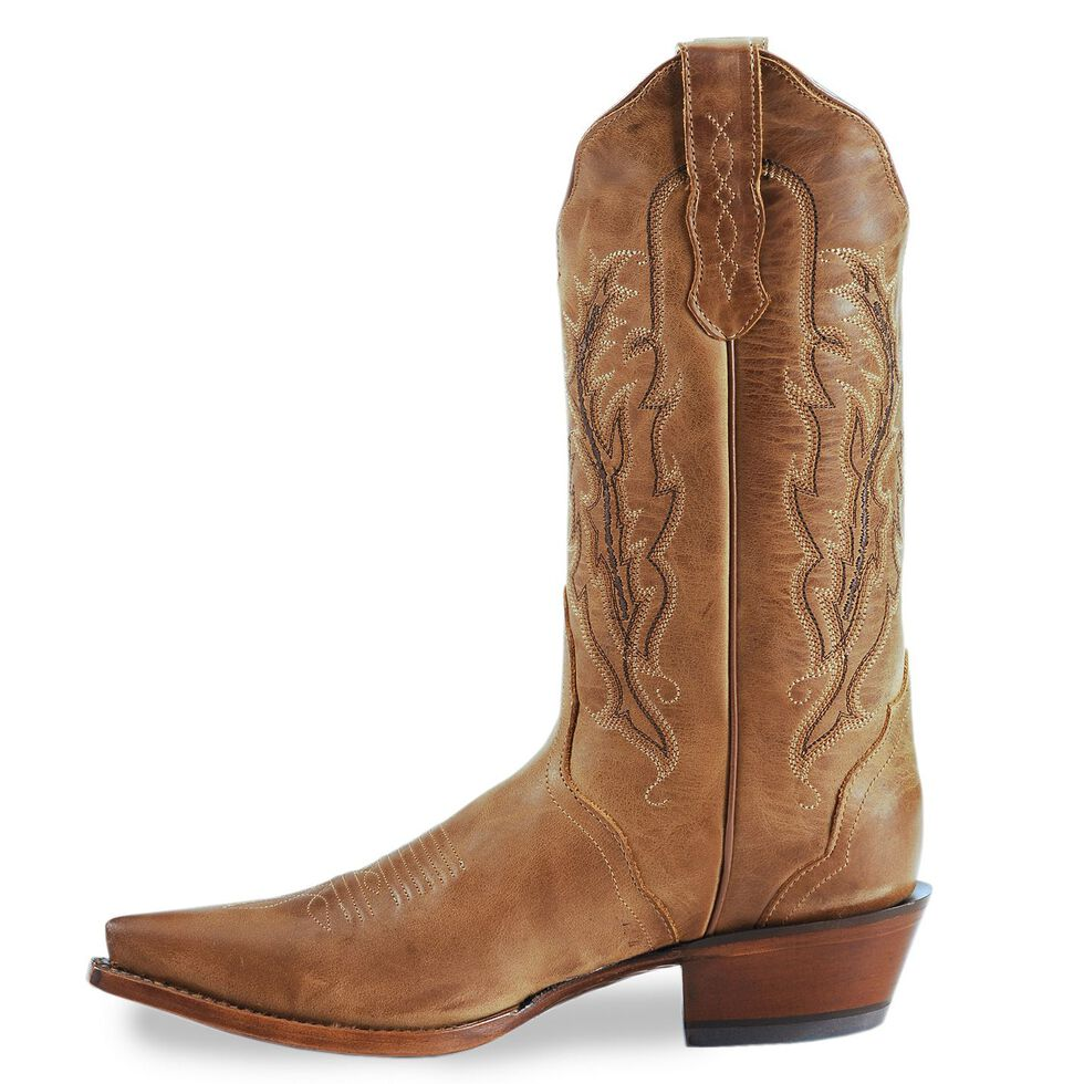 Nocona Old West Tan Cowboy Boots - Snip Toe, Tan, hi-res