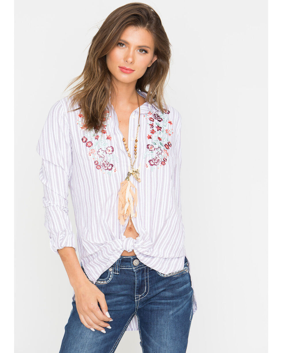 Shyanne Women's Floral Embroidered Striped Long Sleeve Flannel, Mauve, hi-res