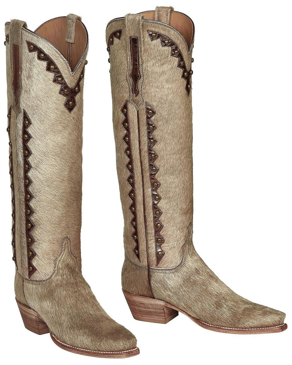 Lucchese Handmade Calf Hair Danielle Tall Cowgirl Boots - Pointed Toe , Natural, hi-res