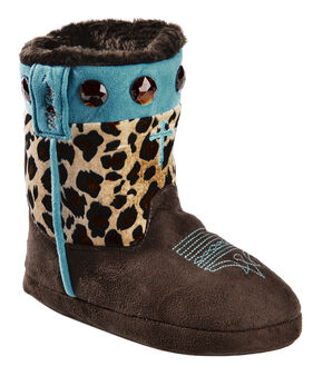 Blazin Roxx Girls' Cross Leopard Print Bootie Slippers, Brown, hi-res