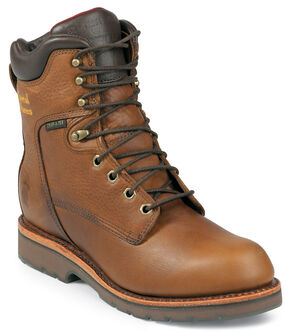 "Chippewa Waterproof 8"" Lace-Up Work Boots - Round Toe, Tan, hi-res"