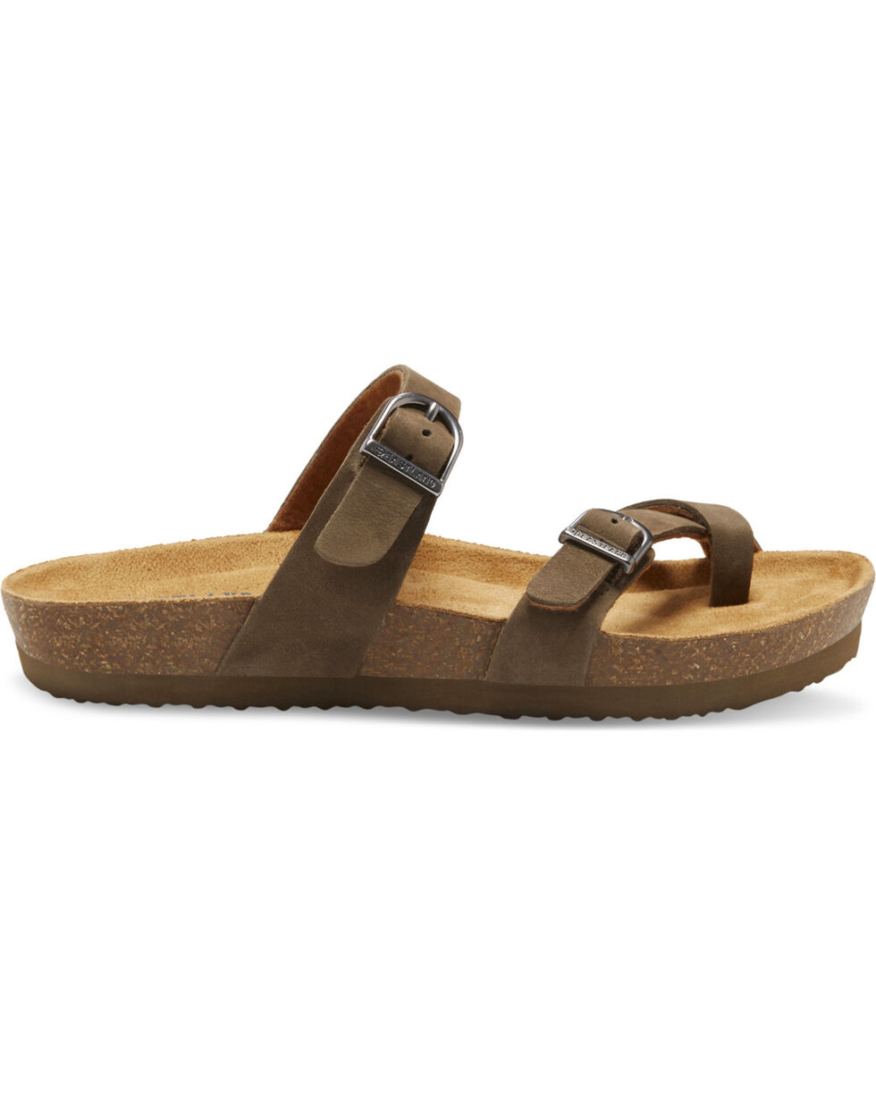 Eastland Women's Tiogo Buckle Strap Thong Sandals, Olive, hi-res