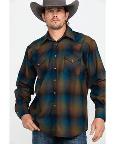 Pendleton Men's Blue Canyon Ombre Plaid Long Sleeve Flannel Shirt , Multi, hi-res