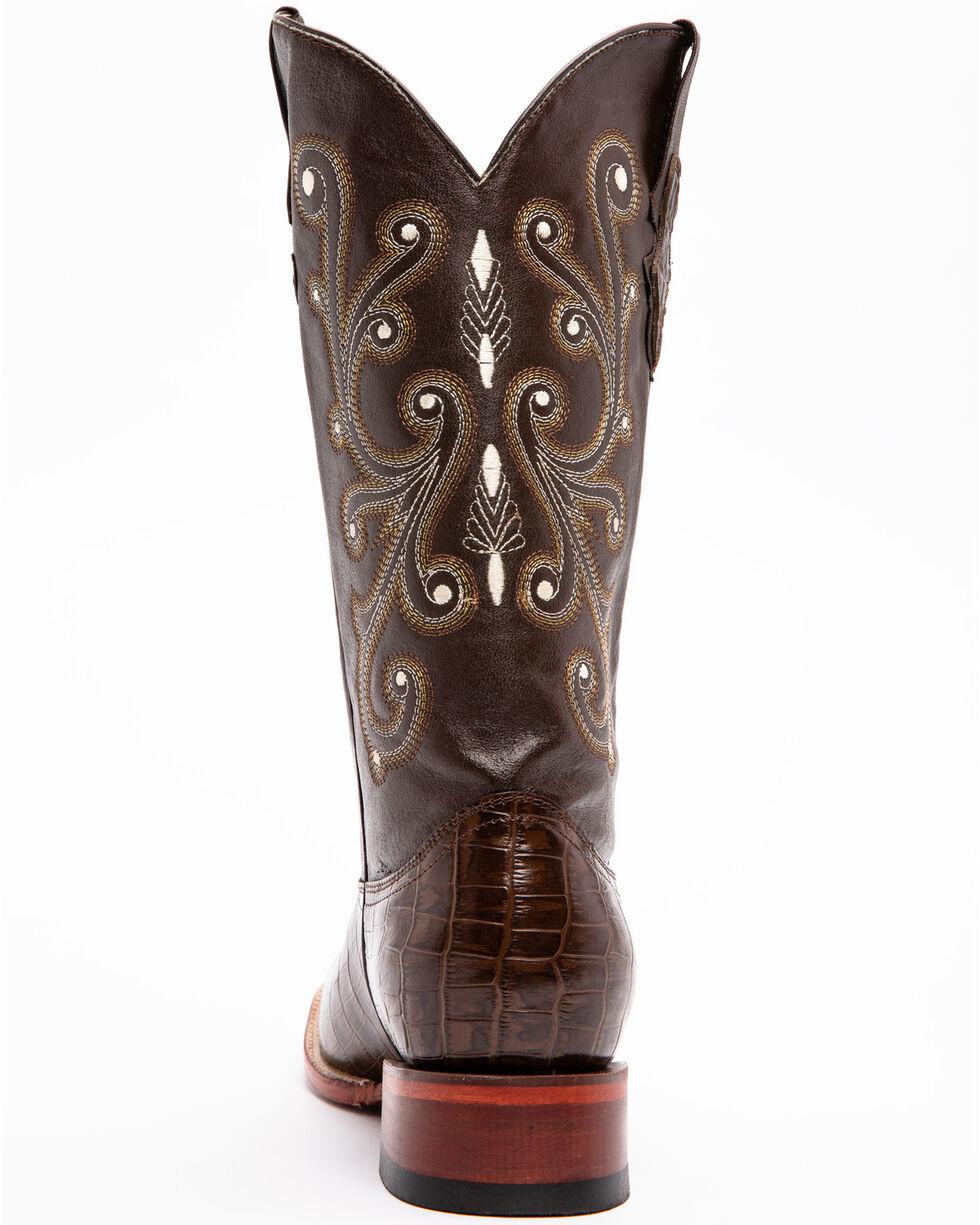 Ferrini Chocolate Alligator Belly Print Cowboy Boots - Square Toe, Chocolate, hi-res