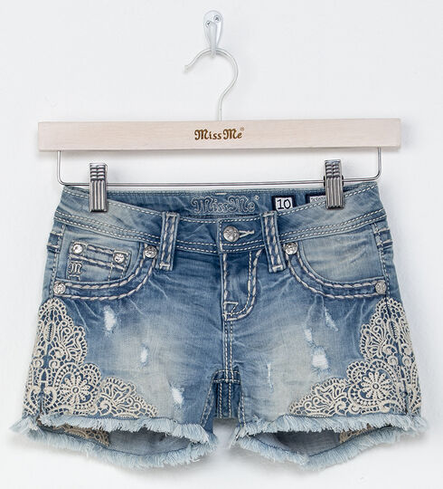 Miss Me Girls' Indigo Be A Lady Lace Detail Shorts , Indigo, hi-res
