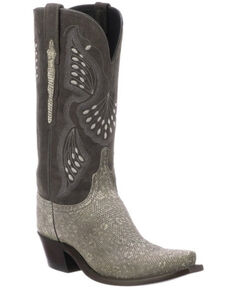 Lucchese Women's Lea Western Boots - Snip Toe, Grey, hi-res
