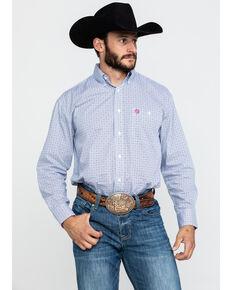 George Strait by Wrangler Men's Navy Small Geo Print Long Sleeve Western Shirt - Big  , Navy, hi-res