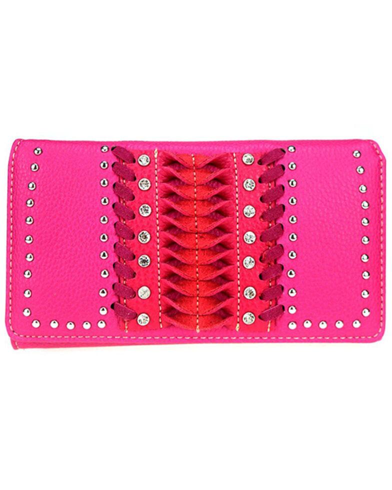 Montana West Women's Pink Stitch Wallet, Pink, hi-res