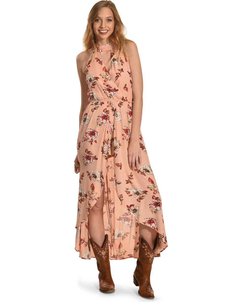 HYFVE Women's Floral Halter Neck Maxi Dress, Peach, hi-res