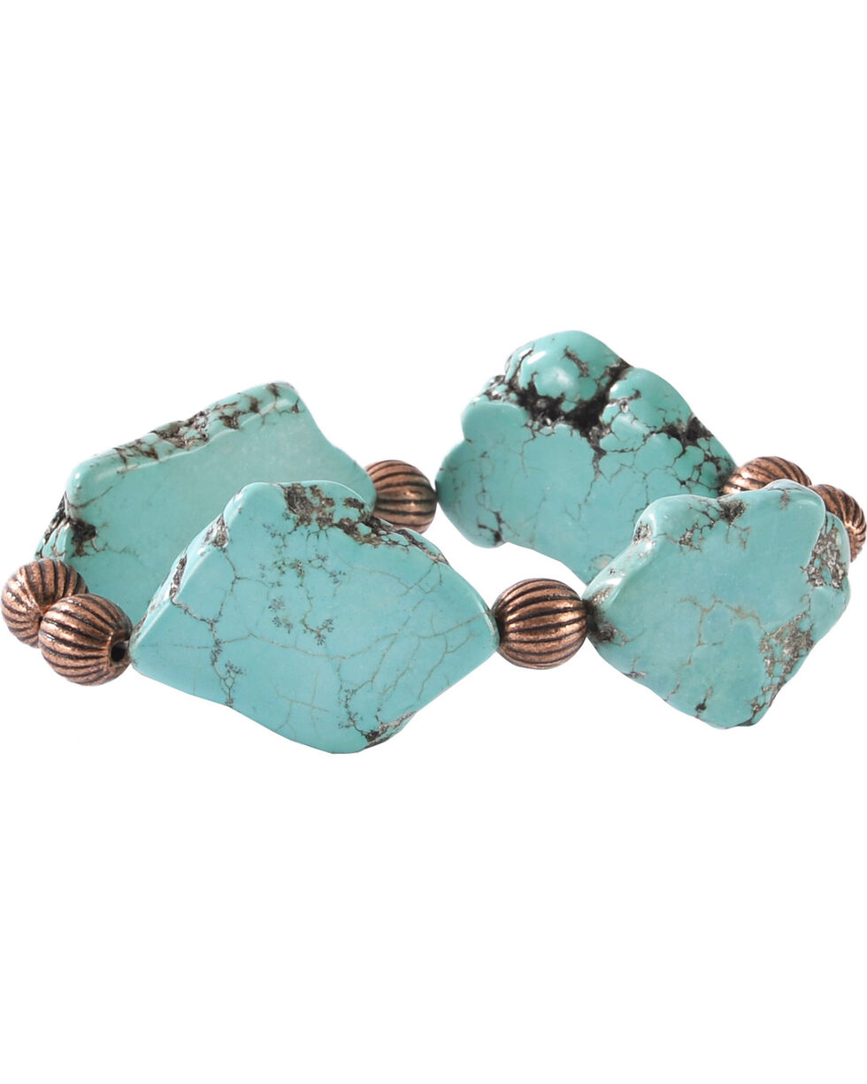 Jewelry Junkie Turquoise Slab Stretch Bracelet, Turquoise, hi-res