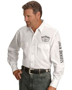 Jack Daniel's Men's Logo Rodeo Long Sleeve Western Shirt, White, hi-res