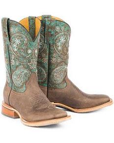 Tin Haul Women's Ban-Dan-Uh Western Boots - Wide Square Toe, Brown, hi-res
