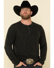 Cody James Men's Skipping Stones Button Henley Long Sleeve Shirt , Charcoal, hi-res