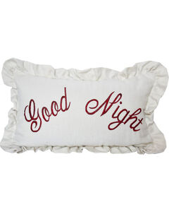 HiEnd Accents White Bandera Good Night Embroidery Pillow, White, hi-res