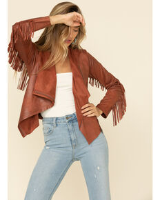 Shyanne Women's Tan Faux Suede Fringe Jacket, Tan, hi-res