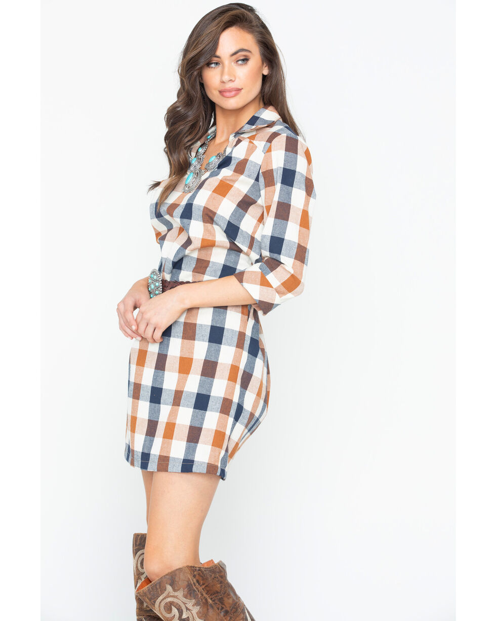 Glam Women's Checkered Plaid Shirt Dress , Multi, hi-res