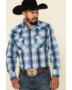 Ely Cattleman Men's Blue Dobby Plaid Long Sleeve Western Shirt - Tall, Blue, hi-res