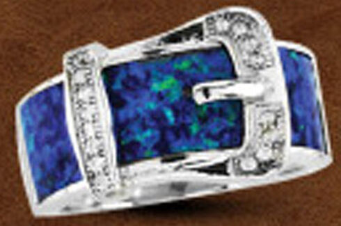 Kelly Herd Sterling Silver Opal Buckle Ring , Silver, hi-res