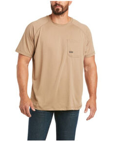 Ariat Men's Khaki Rebar Heat Fighter Short Sleeve Work Pocket T-Shirt - Big , Beige/khaki, hi-res
