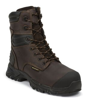 "Justin Work Tek 8"" Waterproof Insulated Lace-Up Work Boots - Composition Toe, Brown, hi-res"