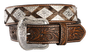 Nocona Hair-on-Hide Diamond Concho Western Belt, Tan, hi-res