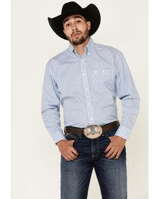 George Strait By Wrangler Men's White Diamond Geo Print Long Sleeve Snap Western Shirt - Tall, White, hi-res