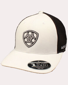 Ariat Men's White Embroidered Shield Logo Flex Fit Mesh Cap , White, hi-res