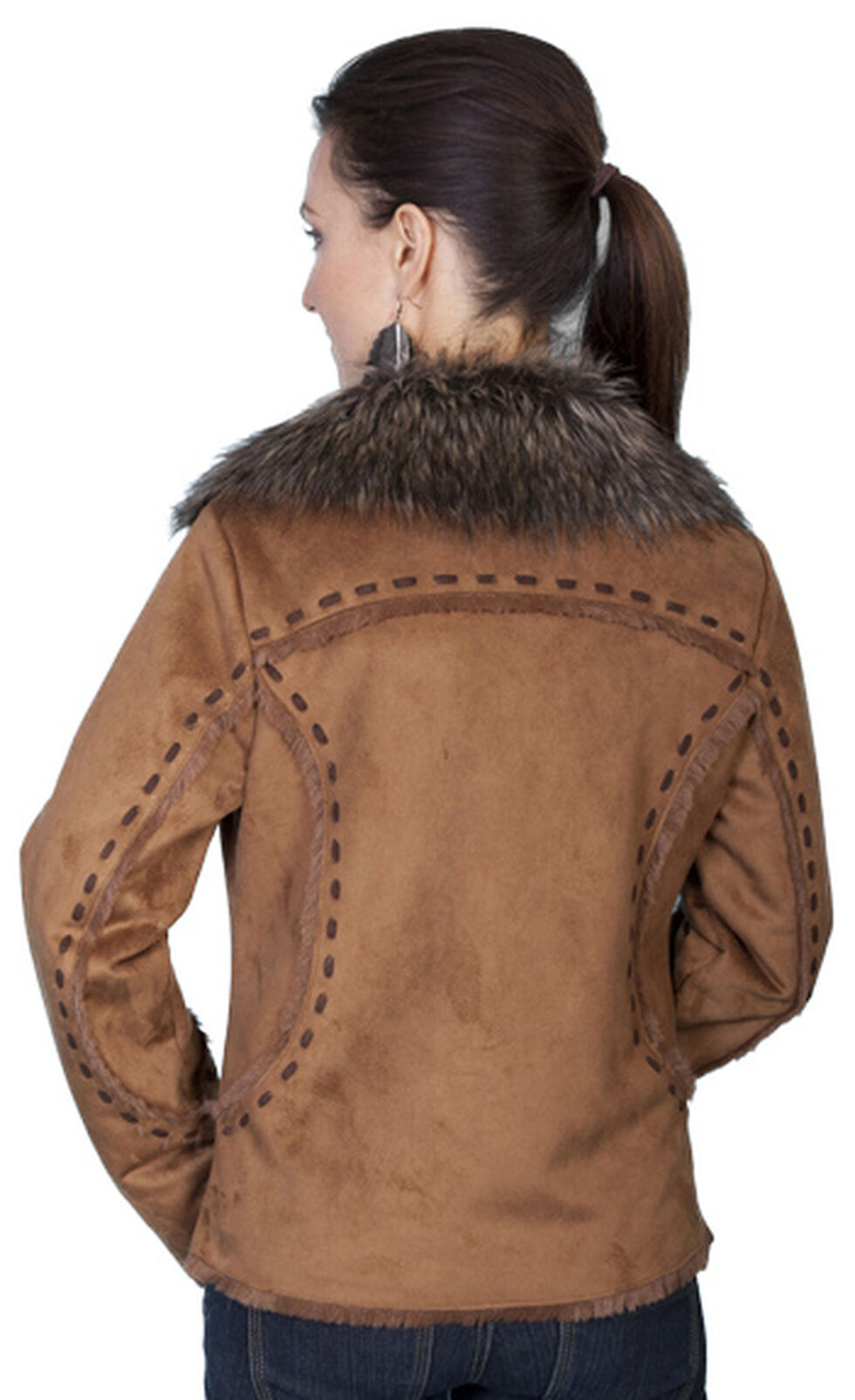 Scully Faux Fur and Suede Whipstitched Jacket, Rust, hi-res