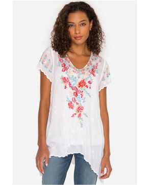 Johnny Was Women's White Hinga Georgette Embroidered Tunic , White, hi-res