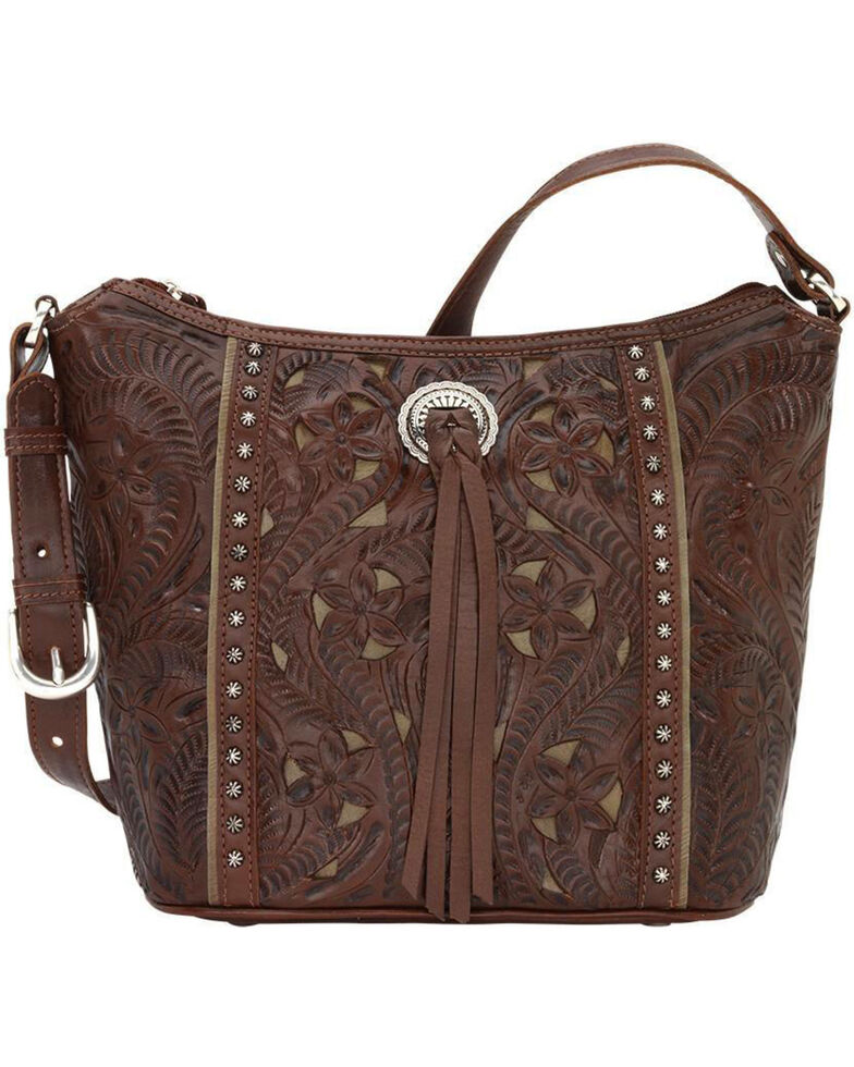American West Women's Hill Country Tote Bag , Chestnut, hi-res