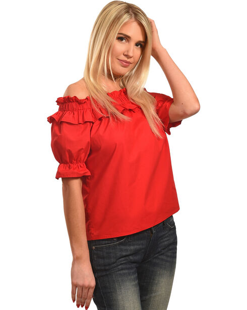 Polagram Women's Off-the-Shoulder Ruffle Top, Red, hi-res