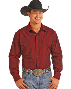 Panhandle Men's Burgundy Satin Dobby Stripe Long Sleeve Snap Shirt, Burgundy, hi-res