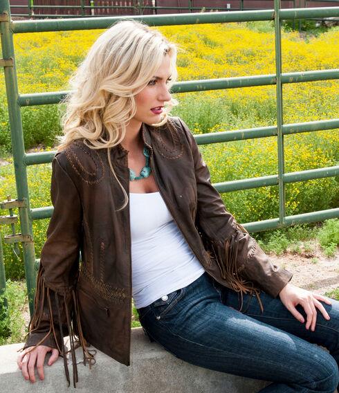 Scully Ranch Long Fringe Leather Jacket , Brown, hi-res