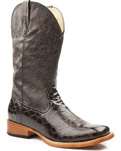 Roper Croc Print Faux Leather Cowgirl Boots - Square Toe, Brown, hi-res