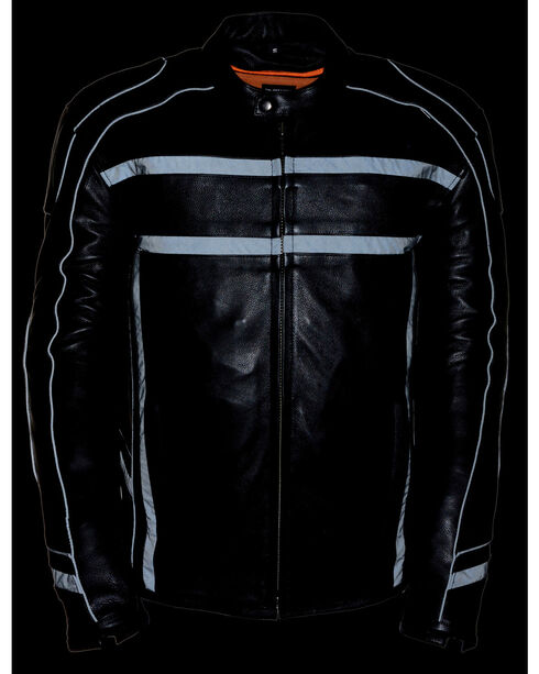 Milwaukee Leather Men's Black Reflective Band Scooter Jacket - Big 3X, Black, hi-res