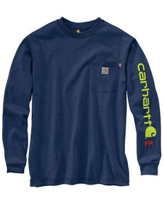 Carhartt Men's Dark Blue M-FR Midweight Signature Logo Long Sleeve Work Shirt - Big , Heather Grey, hi-res