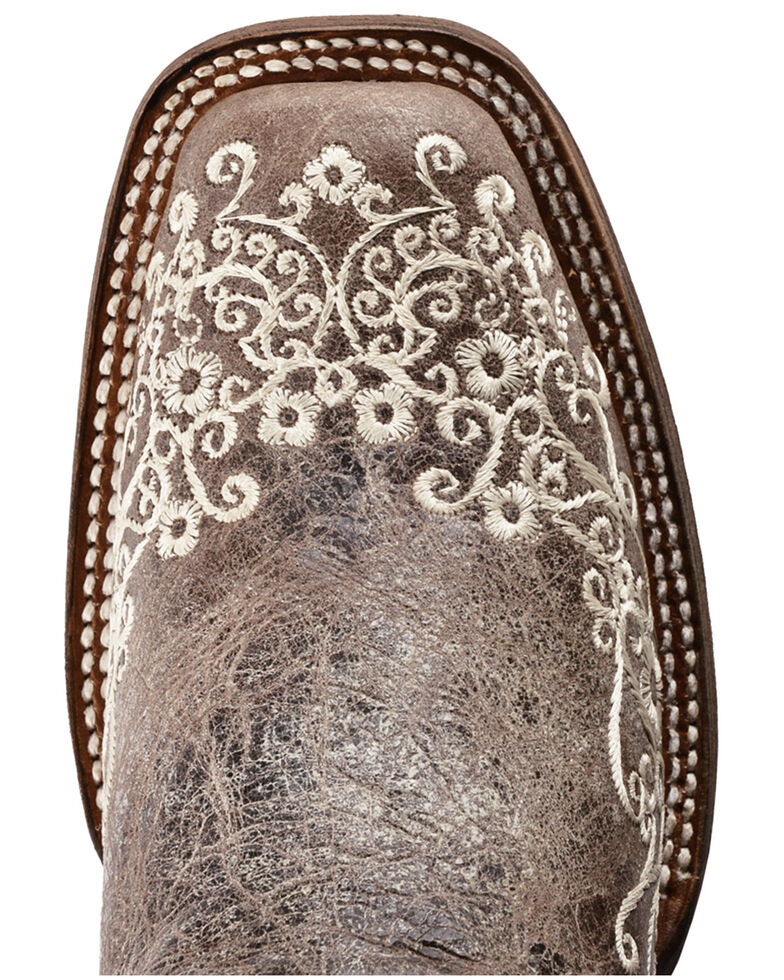 Corral Women's Brown Crater Embroidered Cowgirl Boots - Square Toe, Brown, hi-res
