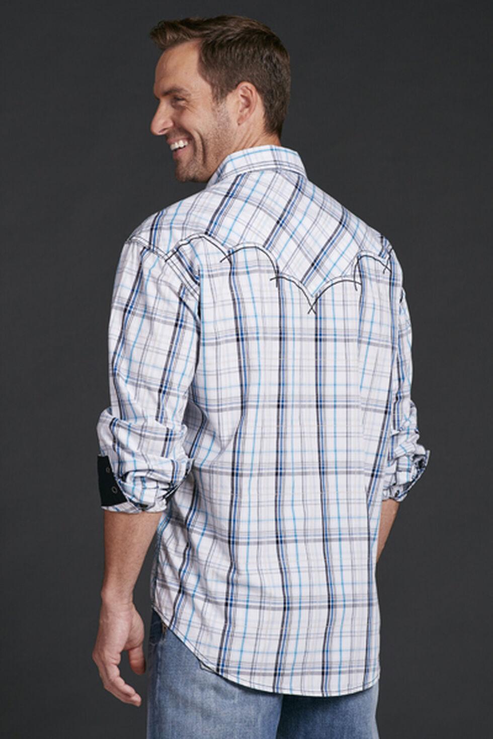 Cowboy Up Men's Blue Plaid Long Sleeve Shirt, Blue, hi-res