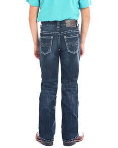 Rock & Roll Denim Boys' Small Double V Bean Stitch Dark Boot Jeans , Blue, hi-res