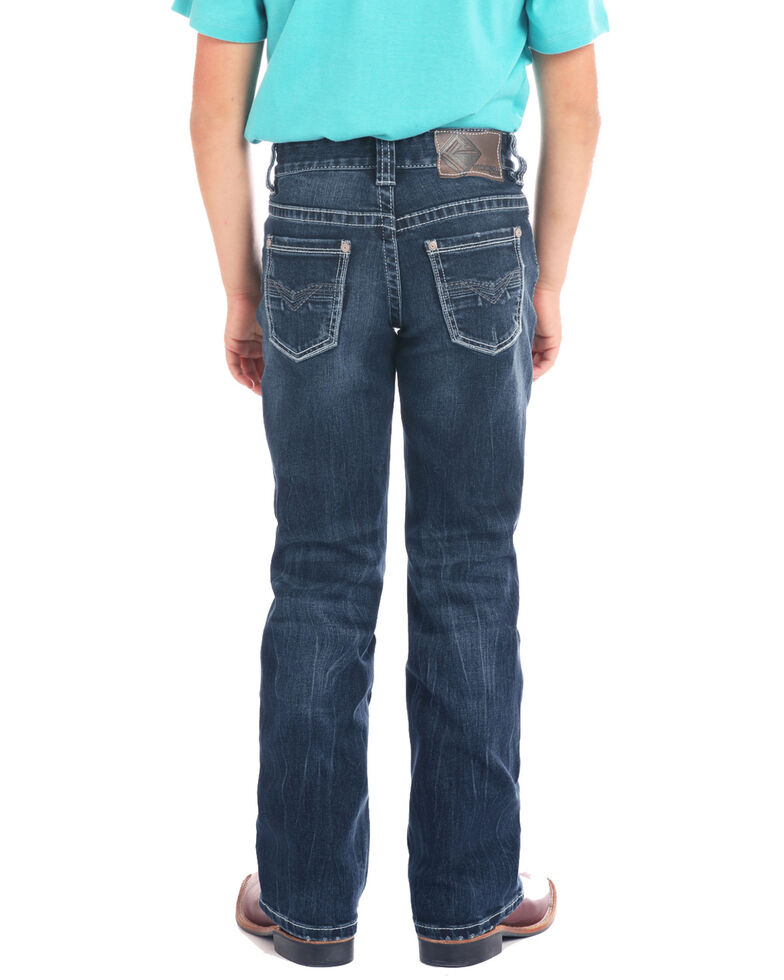 fe87810ac Zoomed Image Rock & Roll Denim Boys' Small Double V Bean Stitch Dark Boot  Jeans , Blue