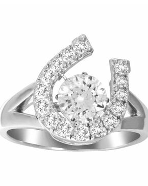 Kelly Herd Women's Silver Dancing Stone Horseshoe Ring , Silver, hi-res
